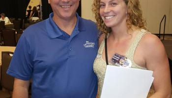Christina Dietrichson and IBEW President Stephenson